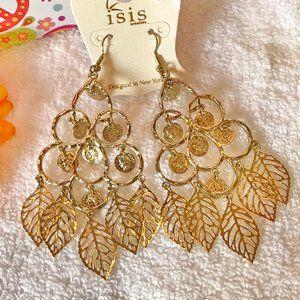 Long Boho Earrings Leaf Goldtone Drop Dangles NWT